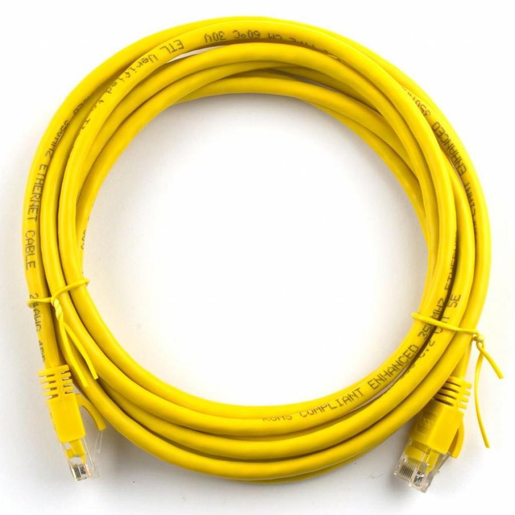 Патч-корд Ritar 1м, RJ-45, Cat.5e, CU, медь, желтый (03032)