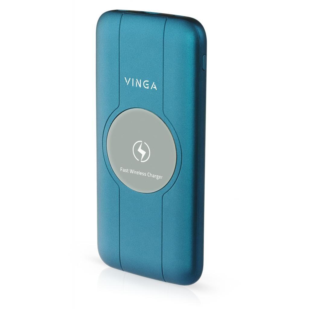 Батарея универсальная Vinga 10000 mAh Wireless QC3.0 PD soft touch blue (BTPB3510WLROBL)