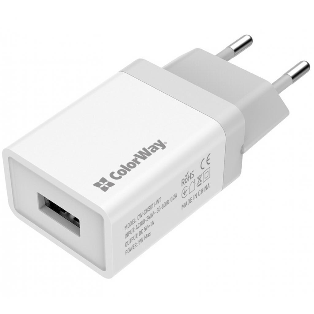 Зарядное устройство ColorWay 1USB 1A (CW-CHS011-WT)