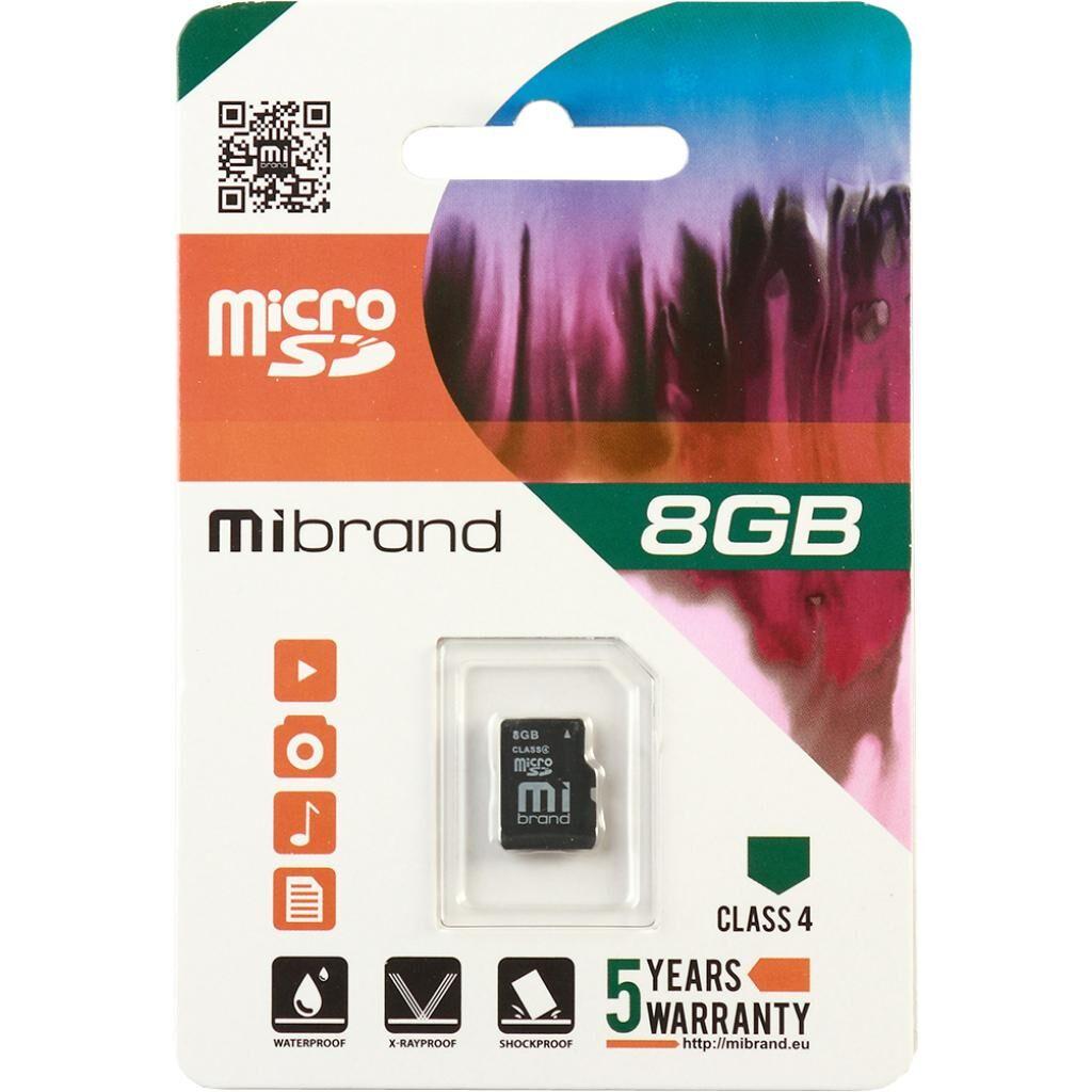 Карта памяти Mibrand 8GB microSD class 4 (MICDC4/8GB)