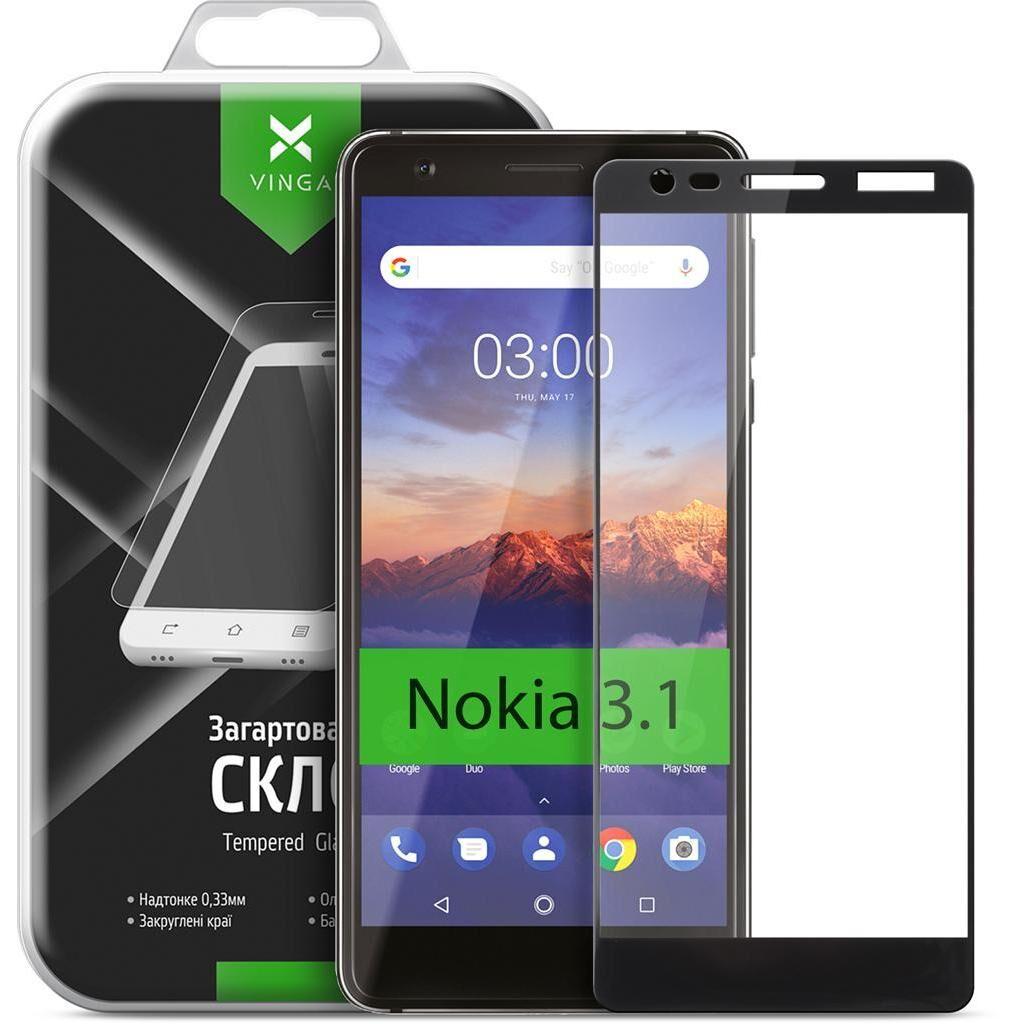 Стекло защитное Vinga для Nokia 3.1 Black (VTPGS-N31B)