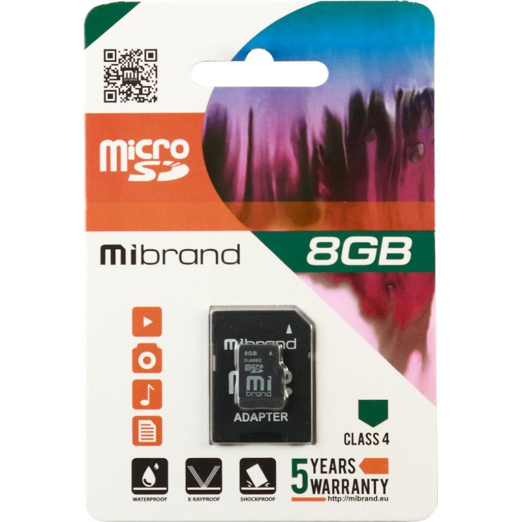 Карта памяти Mibrand 8GB microSD class 4 (MICDC4/8GB-A)
