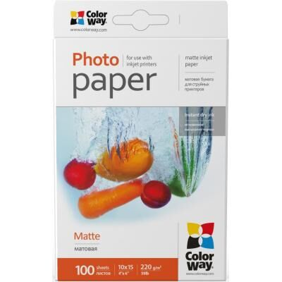 Бумага ColorWay 10x15, 220г, matte, 100л (PM2201004R)