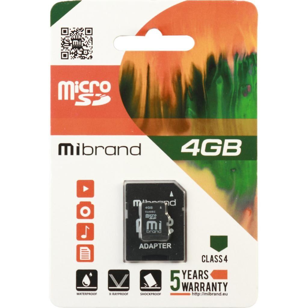 Карта памяти Mibrand 4GB microSDHC class 4 (MICDC4/4GB-A)