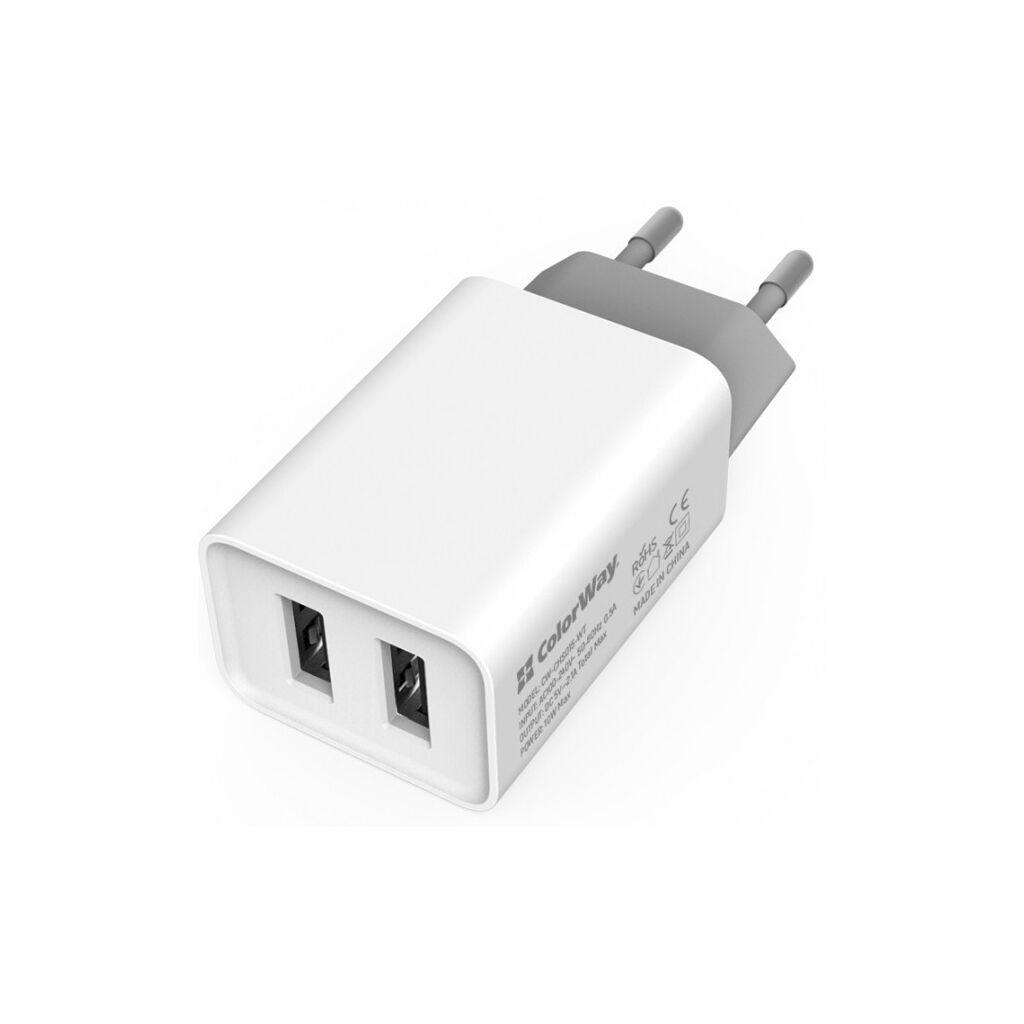 Зарядное устройство ColorWay 2USB AUTO ID 2.1A (10W) (CW-CHS015-WT)