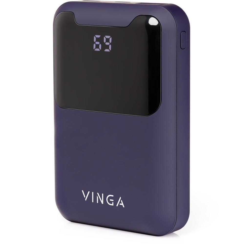 Батарея универсальная Vinga 10000 mAh Display soft touch purple (BTPB0310LEDROP)