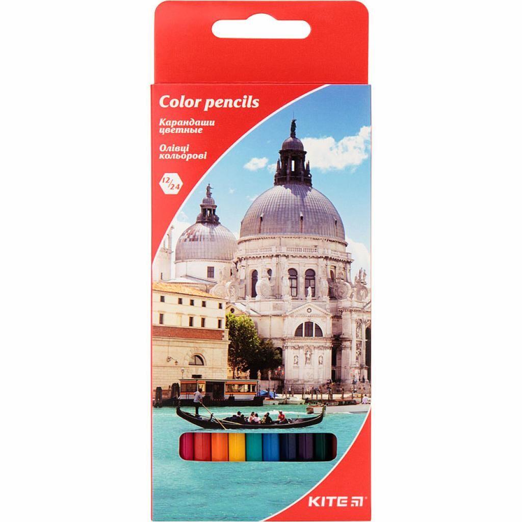 Карандаши цветные Kite Города двусторонние 12 шт. 24 цвета (K17-054-2)