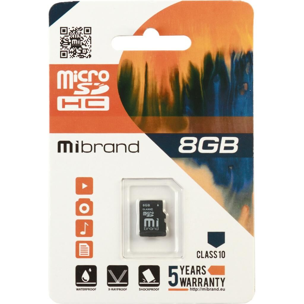Карта памяти Mibrand 8GB microSDHC class 10 (MICDHC10/8GB)