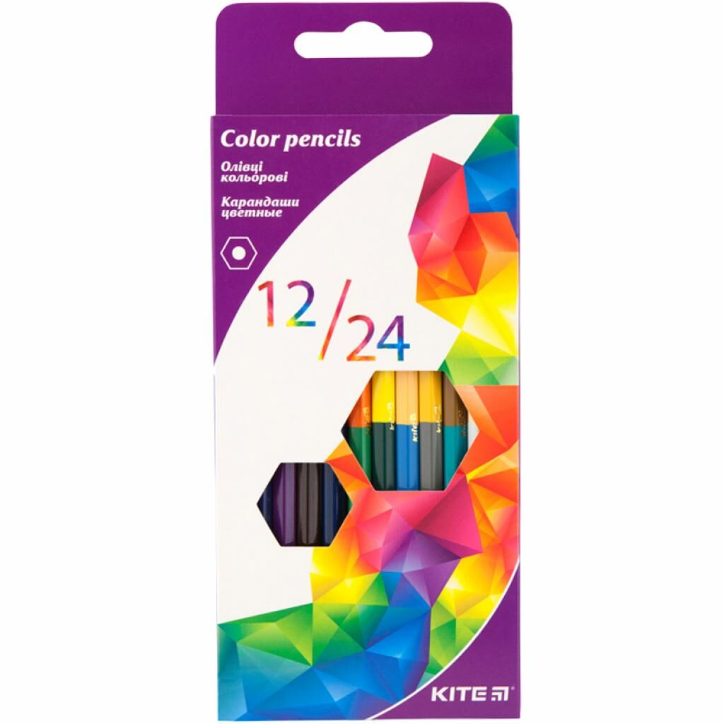 Карандаши цветные Kite Геометрия двусторонние 12 шт. 24 цвета (K17-054-3)