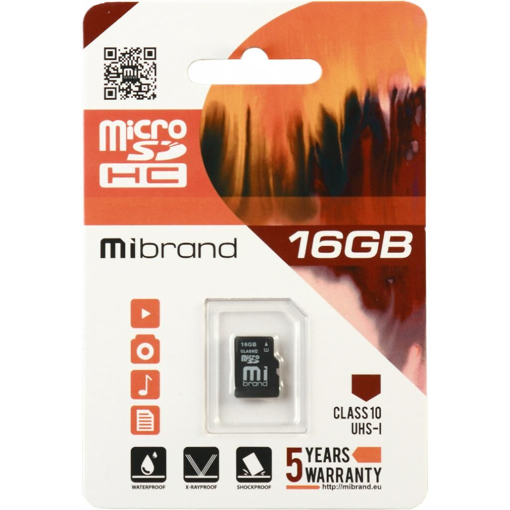 Карта памяти Mibrand 16GB microSDHC class 10 UHS-I (MICDHU1/16GB)